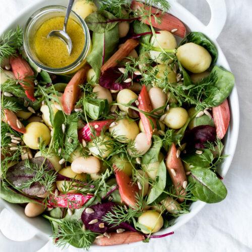Kartoffelsalat med dild og bagte rabarber - opskrift