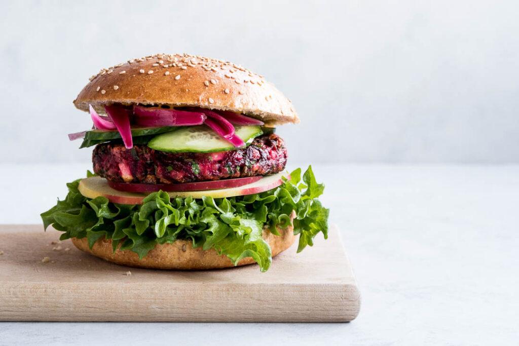 Den bedste vegetar burger - med rødbede